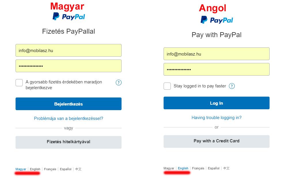 A PayPal bankkártyás fizetés első lépése a bank weboldalán