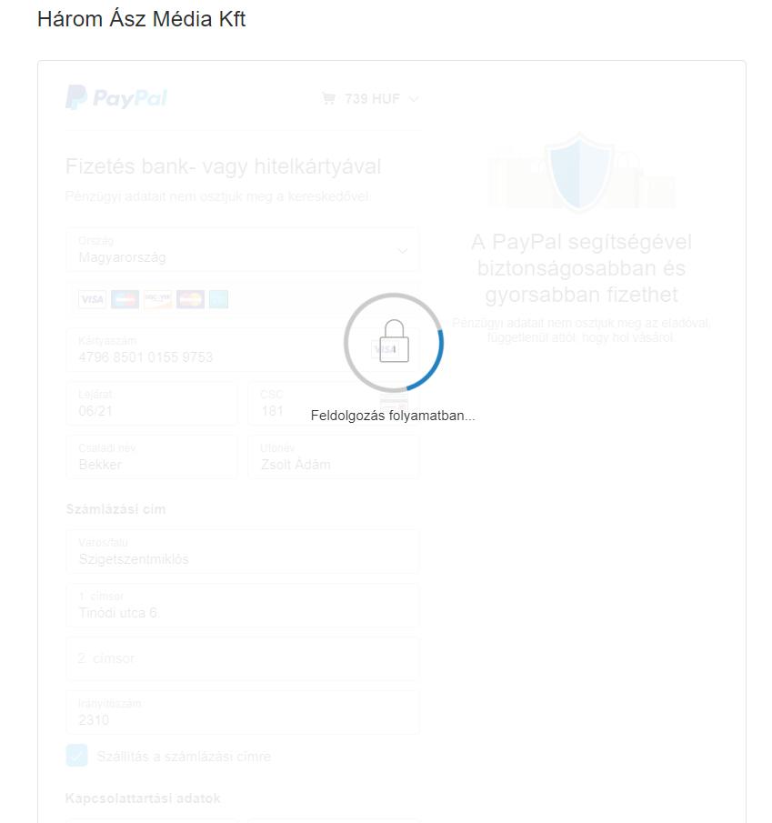 A PayPal bankkártyás fizetés feldolgozása