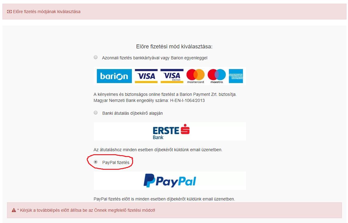 A PayPal fizetés kiválasztása a megredelés során