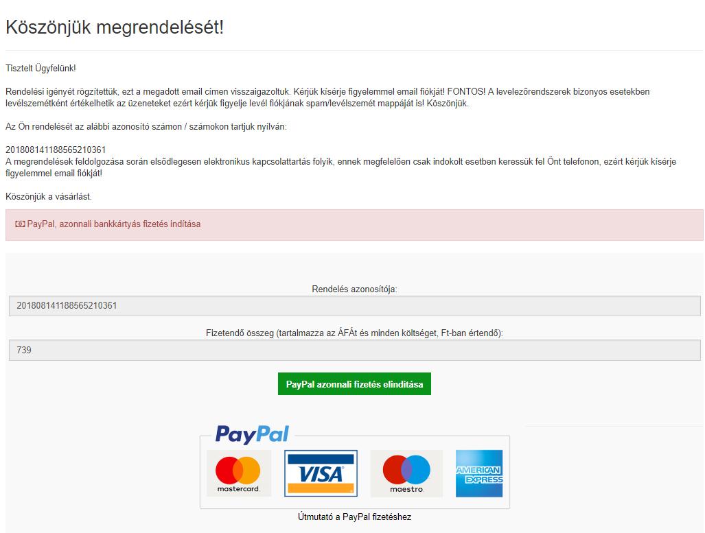 A PayPal bankkártyás fizetés elindítása