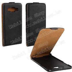 SAMSUNG Galaxy A5 DUOS (SM-A500F/DS)SLIM FLIP tok - lefelé nyíló, rejtett mágneses záródás - FEKETE - SAMSUNG SM-A500F Galaxy A5
