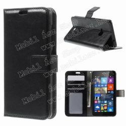 MICROSOFT Lumia 535CRAZY notesz tok flip tok - FEKETE - asztali tartó funkciós, oldalra nyíló, rejtett mágneses záródás, bankkártyatartó zseb - MICROSOFT Lumia 535