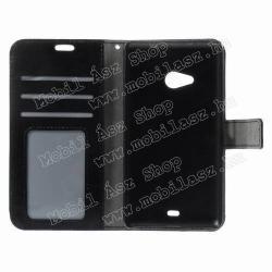 CRAZY notesz tok/ flip tok - FEKETE - asztali tartó funkciós, oldalra nyíló, rejtett mágneses záródás, bankkártyatartó zseb - MICROSOFT Lumia 535