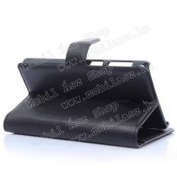 Notesz tok / flip tok - asztali tartó funkciós, oldalra nyíló, rejtett mágneses záródás, bankkártyatartó zseb - FEKETE - Lenovo S860
