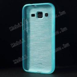 Szilikon védő tok / hátlap - szálcsiszolt mintázat - VILÁGOSKÉK - SAMSUNG SM-G360F Galaxy Core Prime