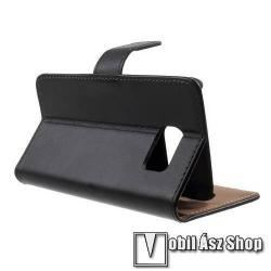 WALLET notesz tok/ flip tok - FEKETE - asztali tartó funkciós, oldalra nyíló, rejtett mágneses záródás, bankkártya tartó zsebekkel - SAMSUNG SM-G920 Galaxy S6