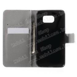Notesz tok/ flip tok - SZÍNES BAGOLY MINTÁS - asztali tartó funkciós, oldalra nyíló, rejtett mágneses záródás, bankkártya tartó zsebekkel - FEHÉR - SAMSUNG SM-G920 Galaxy S6