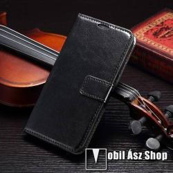 SAMSUNG Galaxy S6 (SM-G920)CRAZY notesz tok  flip tok - asztali tartó funkciós, oldalra nyíló, rejtett mágneses záródás, bankkártyatartó zseb - FEKETE - SAMSUNG SM-G920 Galaxy S6