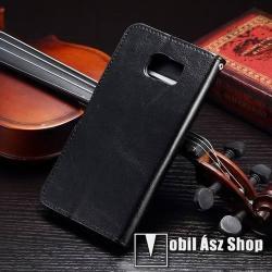 CRAZY notesz tok / flip tok - asztali tartó funkciós, oldalra nyíló, rejtett mágneses záródás, bankkártyatartó zseb - FEKETE - SAMSUNG SM-G920 Galaxy S6