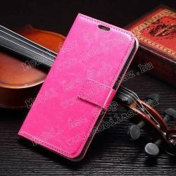 SAMSUNG Galaxy S6 (SM-G920)CRAZY notesz tok  flip tok - asztali tartó funkciós, oldalra nyíló, rejtett mágneses záródás, bankkártyatartó zseb - RÓZSASZÍN - SAMSUNG SM-G920 Galaxy S6