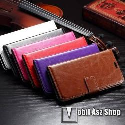 CRAZY notesz tok / flip tok - asztali tartó funkciós, oldalra nyíló, rejtett mágneses záródás, bankkártyatartó zseb - LILA - SAMSUNG SM-G920 Galaxy S6
