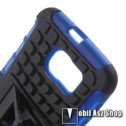 OTT! műanyag védő tok / hátlap - 3D KOCKA MINTÁS - szilikon betétes, asztali tartó funkciós, ERŐS VÉDELEM! - FEKETE / KÉK - SAMSUNG SM-G920 Galaxy S6