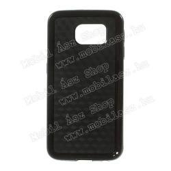 SAMSUNG Galaxy S6 (SM-G920)Műanyag védő tok  hátlap - 3D KOCKA mintás - szilikon szegély - FEKETE - SAMSUNG SM-G920 Galaxy S6