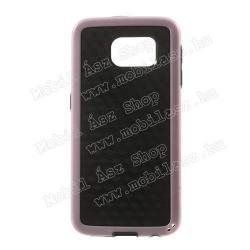 SAMSUNG Galaxy S6 (SM-G920)Műanyag védő tok  hátlap - 3D KOCKA mintás - szilikon szegély - FEKETE  RÓZSASZÍN - SAMSUNG SM-G920 Galaxy S6