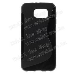 SAMSUNG Galaxy S6 (SM-G920)Szilikon védő tok  hátlap - FÉNYESMATT - FEKETE - SAMSUNG SM-G920 Galaxy S6