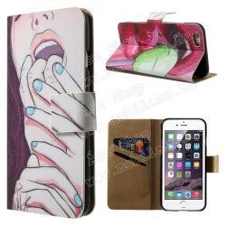 APPLE iPhone 6sNotesz tok  flip tok - SZEXI LÁNY - asztali tartó funkciós, oldalra nyíló, rejtett mágneses záródás, bankkártyatartó zseb - APPLE iPhone 6