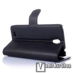 WALLET notesz tok / flip tok - FEKETE - asztali tartó funkciós, oldalra nyíló, rejtett mágneses záródás, bankkártyatartó zseb - Lenovo A319