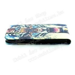 FLIP tok - TIGRIS MINTÁS - lefelé nyíló, rejtett mágneses záródás, szilikonos belső - SAMSUNG SM-G920 Galaxy S6