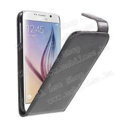 SAMSUNG Galaxy S6 (SM-G920)FLIP tok - FEKETE - lefelé nyíló, rejtett mágneses záródás - SAMSUNG SM-G920 Galaxy S6