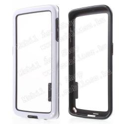 SAMSUNG Galaxy S6 Edge (SM-G925F)Szilikon védő keret - BUMPER - FEHÉR  FEKETE - SAMSUNG SM-G925F Galaxy S6 Edge