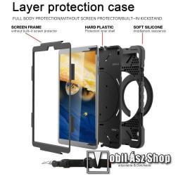 Műanyag védő tok / hátlap - FEKETE - három rétegű, szilikon betétes, 360°-ban forgatható kitámasztható, vállpánttal - ERŐS VÉDELEM! - SAMSUNG Galaxy Tab A 10.1 Wi-Fi (2019) (SM-T510) / SAMSUNG Galaxy Tab A 10.1 LTE (2019) (SM-T515)