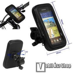 Realme C25 (RMX3193 / RMX3191)UNIVERZÁLIS biciklis, kerékpáros tartó konzol mobiltelefon készülékekhez - 160 x 82 x 20 mm-es bölcső, cseppálló védő tokos kialakítás - FEKETE