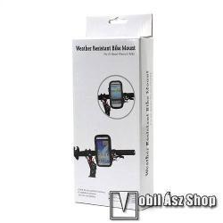 UNIVERZÁLIS biciklis, kerékpáros tartó konzol mobiltelefon készülékekhez - 160 x 82 x 20 mm-es bölcső, cseppálló védő tokos kialakítás - FEKETE