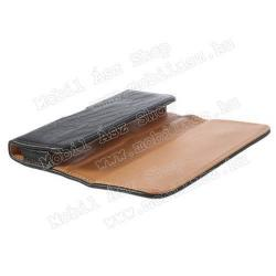 Tok fekvő, bőr - rejtett mágnescsat, övre fűzhető, övcsipesz - 143 x 75 x 12 mm - FEKETE