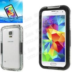 SAMSUNG Galaxy S5 Neo (SM-G903F)Vízhatlan  vízálló tok - nyakba akasztható, 6m mélységig vízálló - FEKETE  ÁTLÁTSZÓ - SAMSUNG SM-G900F Galaxy S5