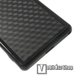 Műanyag védő tok / hátlap - 3D KOCKA MINTÁS - szilikon keret - FEKETE - SONY Xperia Z2 (D6503)