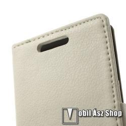 Notesz tok / flip tok - oldalra nyíló, asztali tartó funkciós, rejtett mágneses záródás, bankkártya tartó zseb - FEHÉR - SONY Xperia M2 (D2305) / SONY Xperia M2 DUAL (D2302)