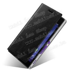 SONY Xperia M2 DUAL (D2302)MOFI műanyag védő tok  bőr hátlap - oldalra nyíló flip - FEKETE - SONY Xperia M2 (D2305)  SONY Xperia M2 DUAL (D2302)