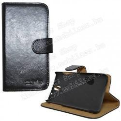HTC Desire 610CRAZY notesz tok flip tok - asztali tartó funkciós, oldalra nyíló, rejtett mágneses záródás, bankkártya tartó zsebekkel - FEKETE - HTC Desire 610