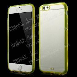 APPLE iPhone 6sCRYSTAL műanyag védő tok  átlátszó hátlap - szilikon keret - SÁRGA - APPLE IPhone 6