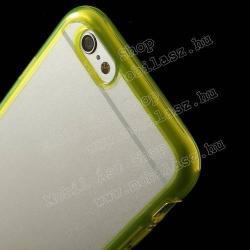 CRYSTAL műanyag védő tok / átlátszó hátlap - szilikon keret - SÁRGA - APPLE IPhone 6