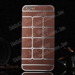 APPLE iPhone 6sMűanyag védő tok  hátlap - szálcsiszolt  négyzet mintás - BARNA - APPLE iPhone 6