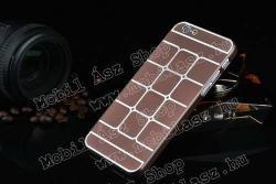 Műanyag védő tok / hátlap - szálcsiszolt / négyzet mintás - BARNA - APPLE iPhone 6