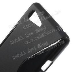 Szilikon védő tok / hátlap - FÉNYES/MATT - FEKETE - SONY Xperia E3 (D2203)