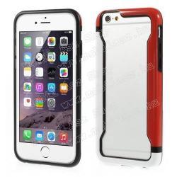 APPLE iPhone 6sDUO szilikon védő keret - BUMPER - FEHÉR  PIROS - APPLE iPhone 6