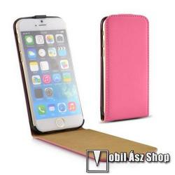 SLIM FLIP tok - lefelé nyíló, rejtett mágneses záródás - RÓZSASZÍN - APPLE iPhone 6