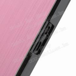Alumínium védő tok / hátlap - műanyag keret, szálcsiszolt mintázat - RÓZSASZÍN - BLACKBERRY Z10