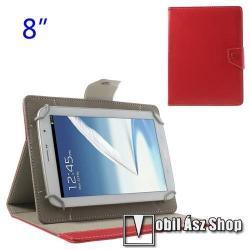 SAMSUNG Galaxy Tab A7 Lite (SM-T220 / SM-T225)UNIVERZÁLIS notesz  mappa tablet PC tok - PIROS - álló, bőr, mágneses, asztali tartó funkciós, 8 készülékekhez - 120-160 - 180-220 mm-ig állítható befogó keret