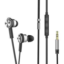 BASEUS Encok H01 sztereo headset / james bond - felvevő és hangerő szabályzó gombok, mikrofon, 3,5mm Jack, 3 pár fülgumi, alumínium ház, lapos kábel (1,2m) - SZÜRKE - GYÁRI