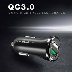 USAMS US-CC028 szivargyújtó / autós töltõ 2db USB aljzattal - Quick Charge 3.0 (3.6-6V/3A, 6.2-9V/1,5A, 9.2-12V/1,5A) és 5V/2.4A - FEKETE - GYÁRI