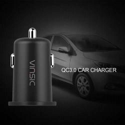 VINSIC VSCC106 szivargyújtó / autós töltõ USB aljzattal - Quick Charge 3.0 (3.6-6.5V/3A, 6.5-9V/2A, 9-12V/1.5A) és 5V / 1A, 5V / 2A kimenet, túlmelegedés, túláram és rövidzár védelemmel - FEKETE
