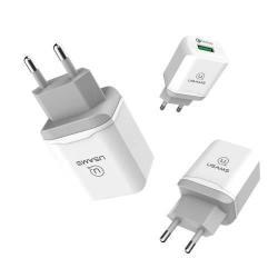 USAMS US-CC024 hálózati töltő USB aljzattal - Quick Charge 3.0 (3.6-6V/3A, 6.2-9V/2A, 9.2-12V/1.5A) és 5V / 1A, 5V / 2A kimenet, rövidzár és túlhevülés védelem - FEHÉR - GYÁRI