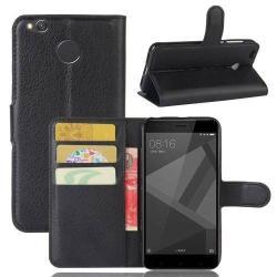 WALLET notesz tok / flip tok - FEKETE - asztali tartó funkciós, oldalra nyíló, rejtett mágneses záródás, bankkártyatartó zseb, szilikon belsõ - Xiaomi Redmi 4X