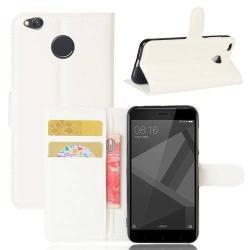 WALLET notesz tok / flip tok - FEHÉR - asztali tartó funkciós, oldalra nyíló, rejtett mágneses záródás, bankkártyatartó zseb, szilikon belső - Xiaomi Redmi 4X