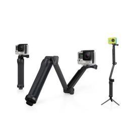Selfie bot, tripod állvány, összehajtható - max 50.8cm - GoPro Hero 5 / 4 / 3+ / 3 / Xiaomi Yi - FEKETE