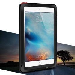 LOVE MEI Powerful defender védő tok / hátlap - ütésálló, Gorilla Glass üveg, fém keret, szilikon betétes - FEKETE - APPLE iPad Mini 4 - GYÁRI